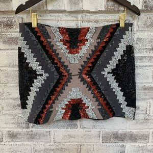 Zara Fully-beaded Aztec print mini skirt